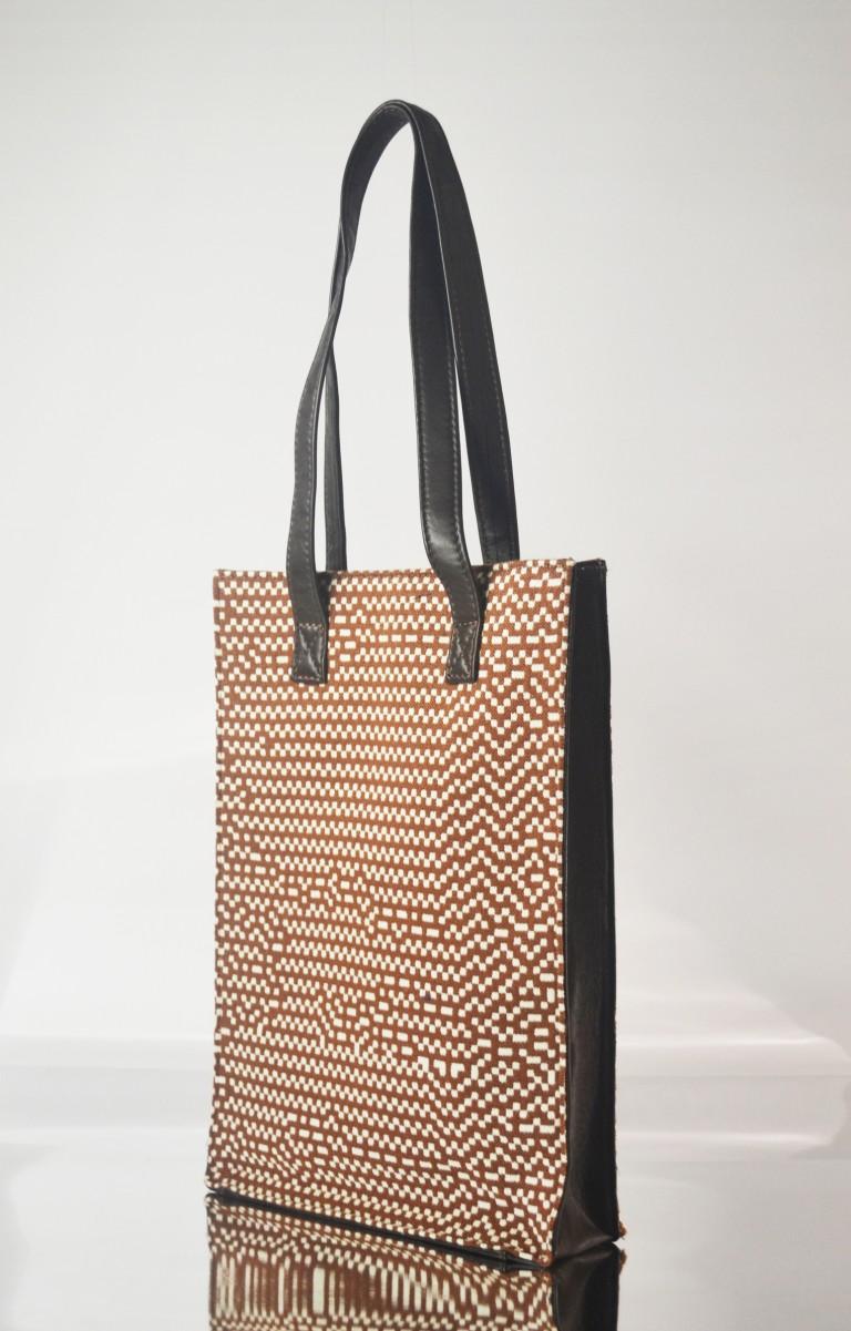 Brown&White tote bag side 1